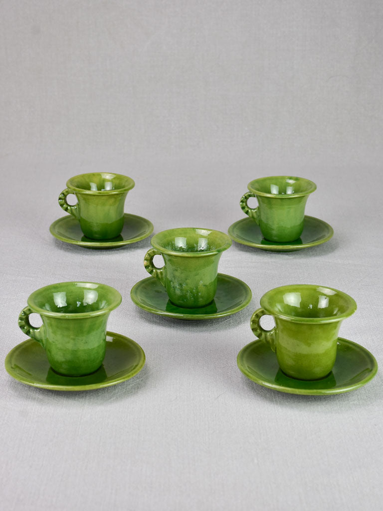 Five mid century French cups and saucers with green glaze - Biot