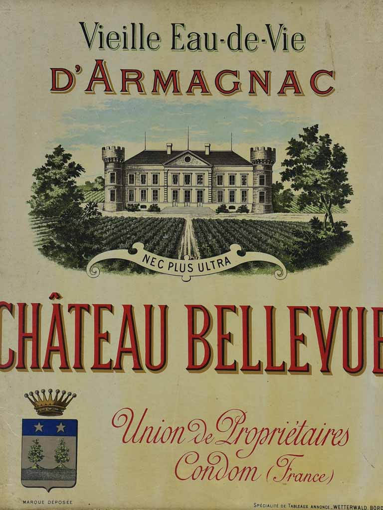 "Early 20th Century framed Armagnac advertisment - Chateau Bellevue 15"" x 18"""