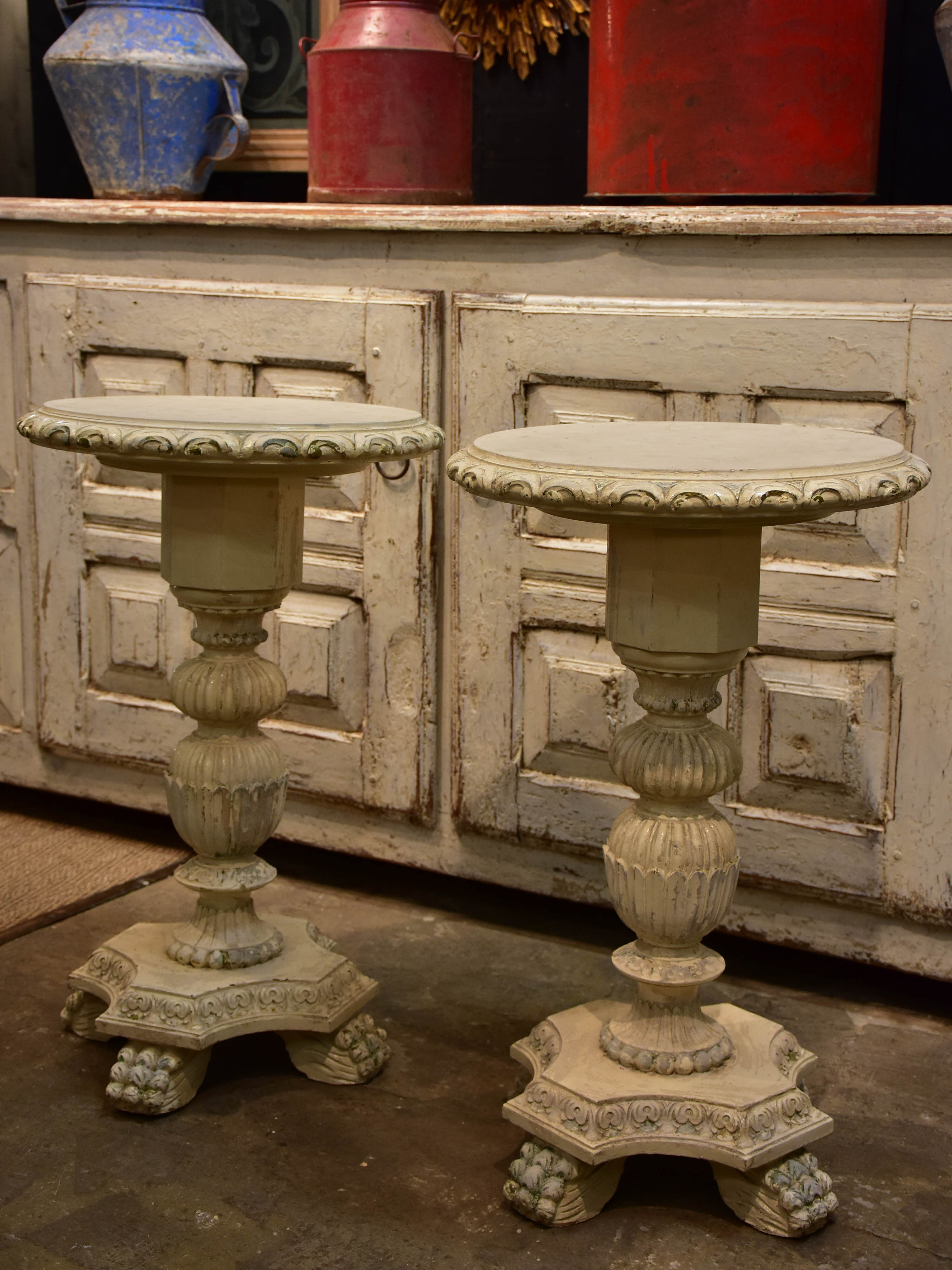 Pair of round French side tables - Victorian