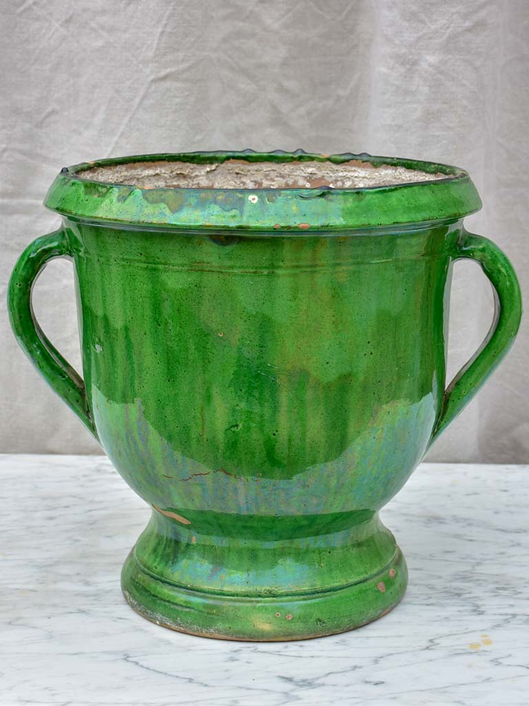 Early 20th Century Castelnaudary planter with green glaze and two handles