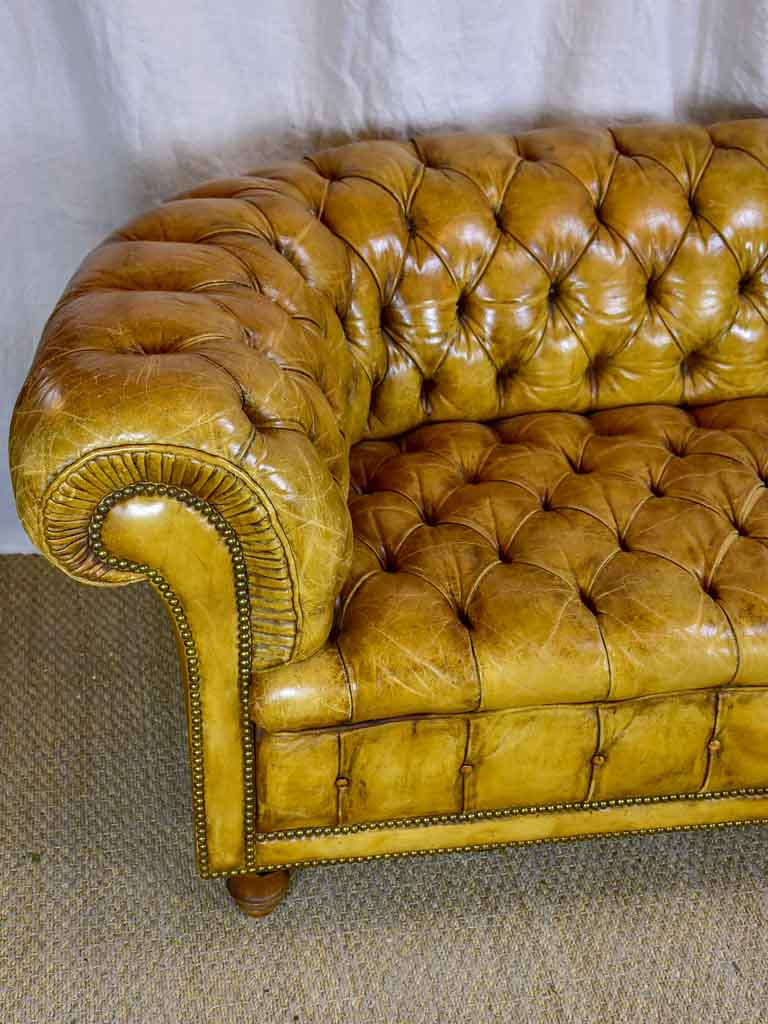 Original French Leather Chesterfield Sofa