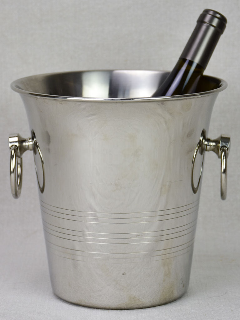 Vintage French Guy Degrenne champagne ice bucket with loop handles