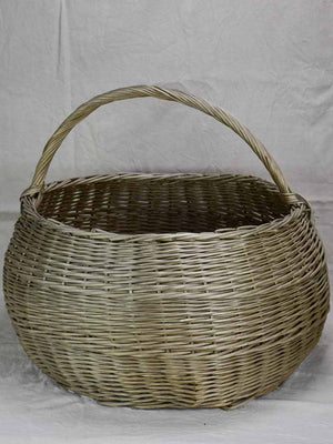 Very very large antique French wicker basket with handle 28¼""