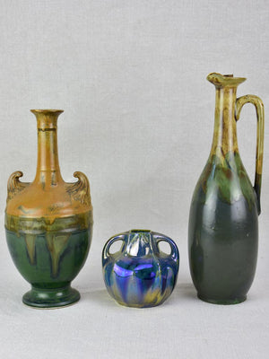 Collection of three stoneware vases - early twentieth-century signed