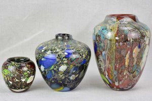 Collection of three Murano glass vases from the 1950's