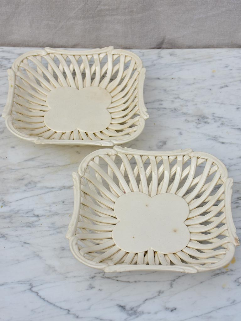 Pair of pretty ceramic woven plates