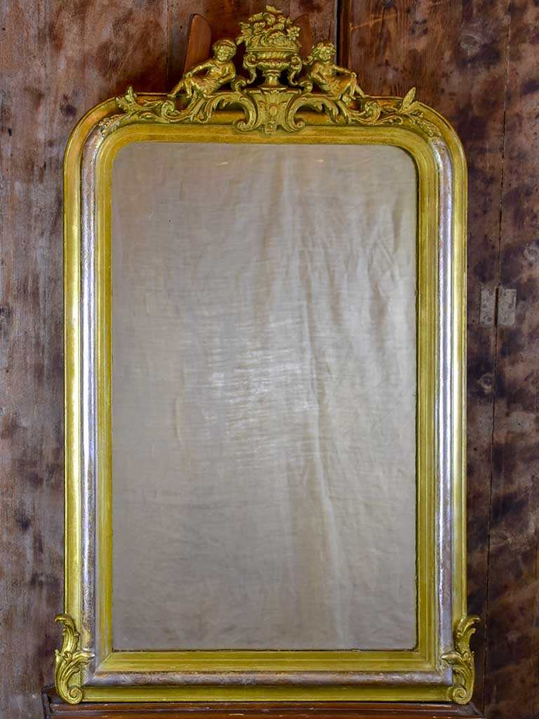 "Antique French Louis Philippe mirror with angel crest 28 ¼"" x 45 ¾"""