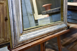 Antique French Louis Philippe mirror with silver leaf frame