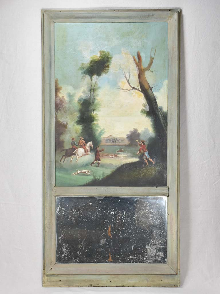 "Eighteenth-century French trumeau mirror 29½"" x 59"""
