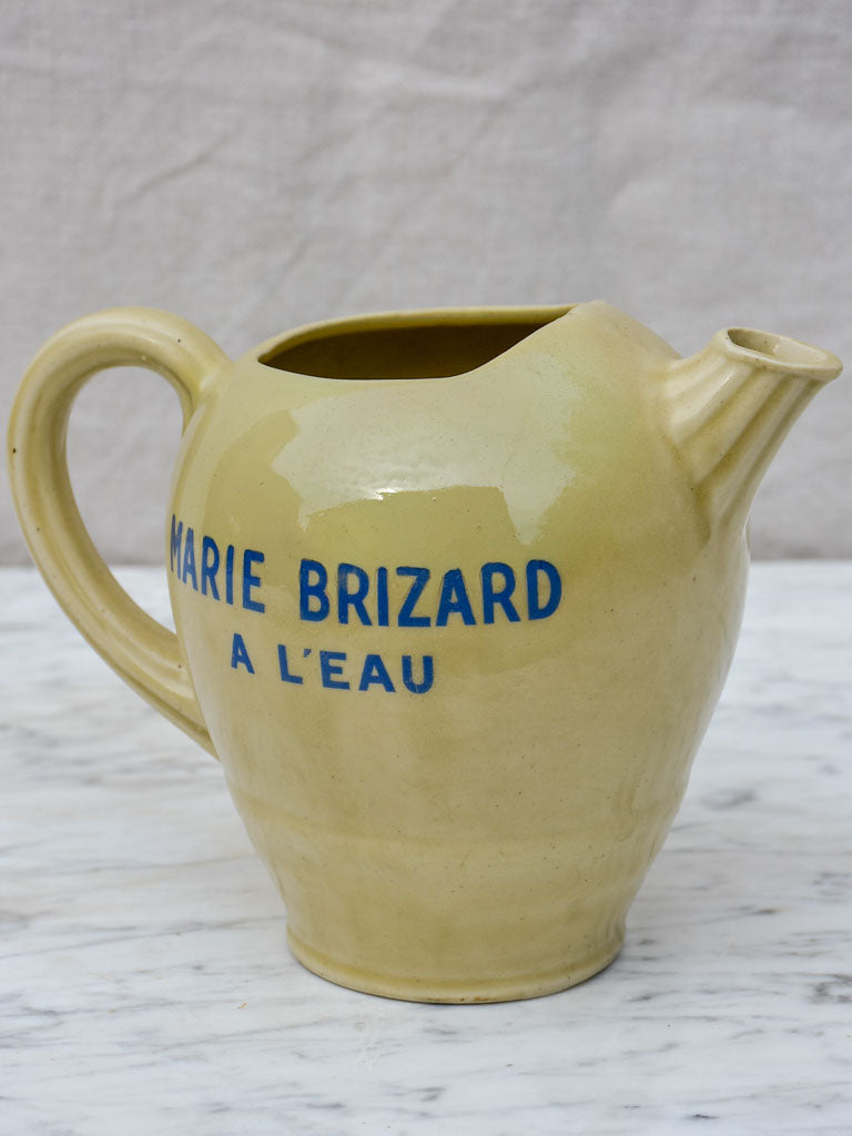 Antique Marie Brizard a l'eau ceramic Pastis water pitcher