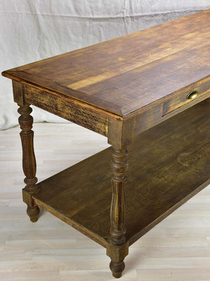 "Antique French oak drapery table 70¾"" x  27½"""