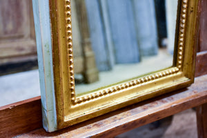 Narrow rectangular Louis Philippe mirror with gilded and sage green frame