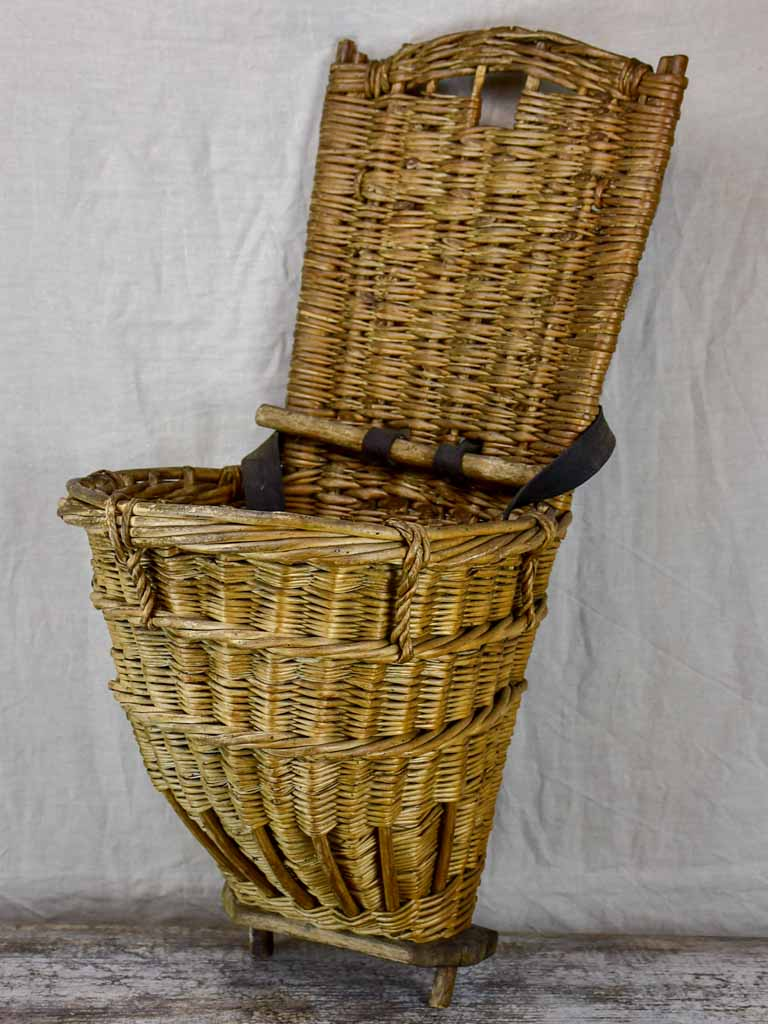 Antique French back harvest basket from Burgundy