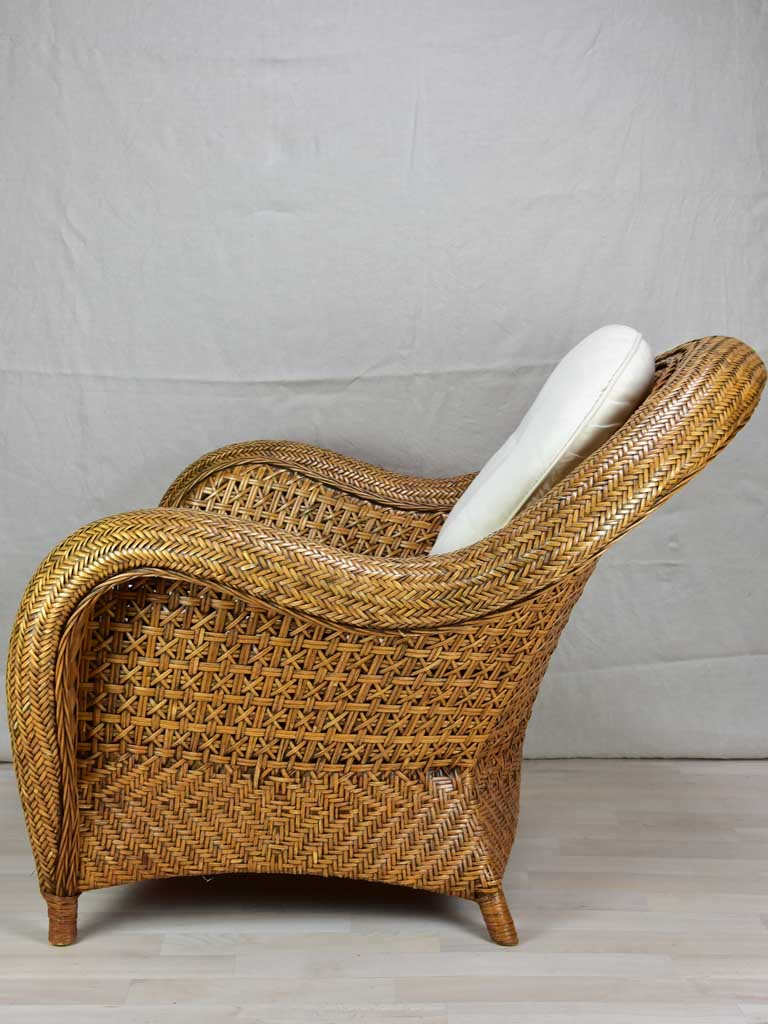 Very large vintage wicker armchairs