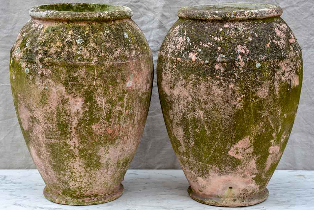 Pair of Willy Guhl garden planters with weathered pink patina