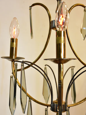 Vintage brass and glass lustre