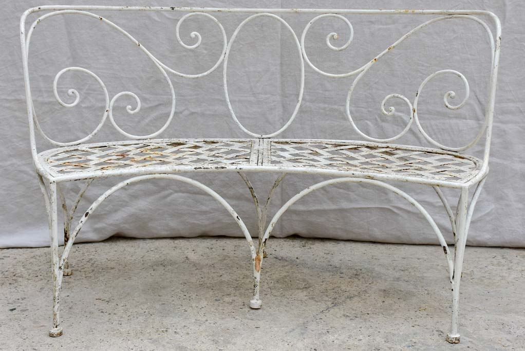 19th Century French garden bench - curved with white patina 52¼""