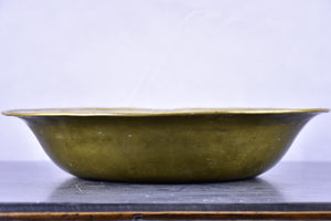 19th century Italian brass washing bowl with RS monogram