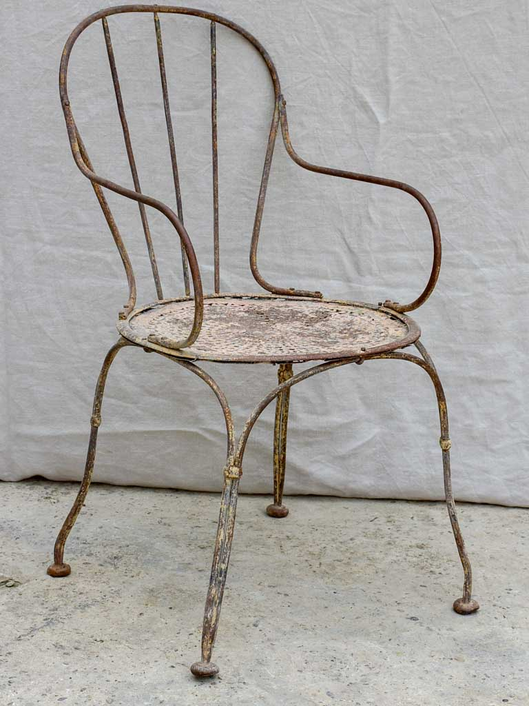 Antique French garden armchair with bar backrest
