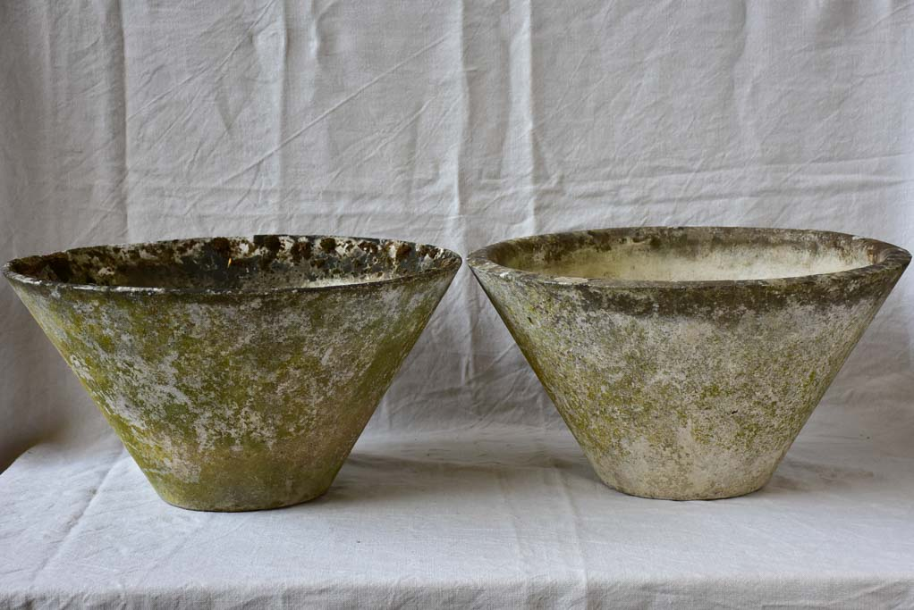 Two mid century tapered garden planters 21¾""