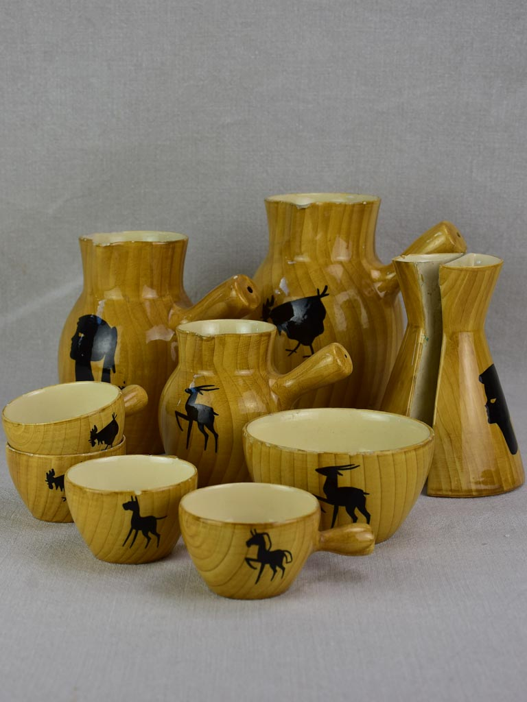 10 piece decorative ceramic set from Vallauris - faux bois and animal motifs
