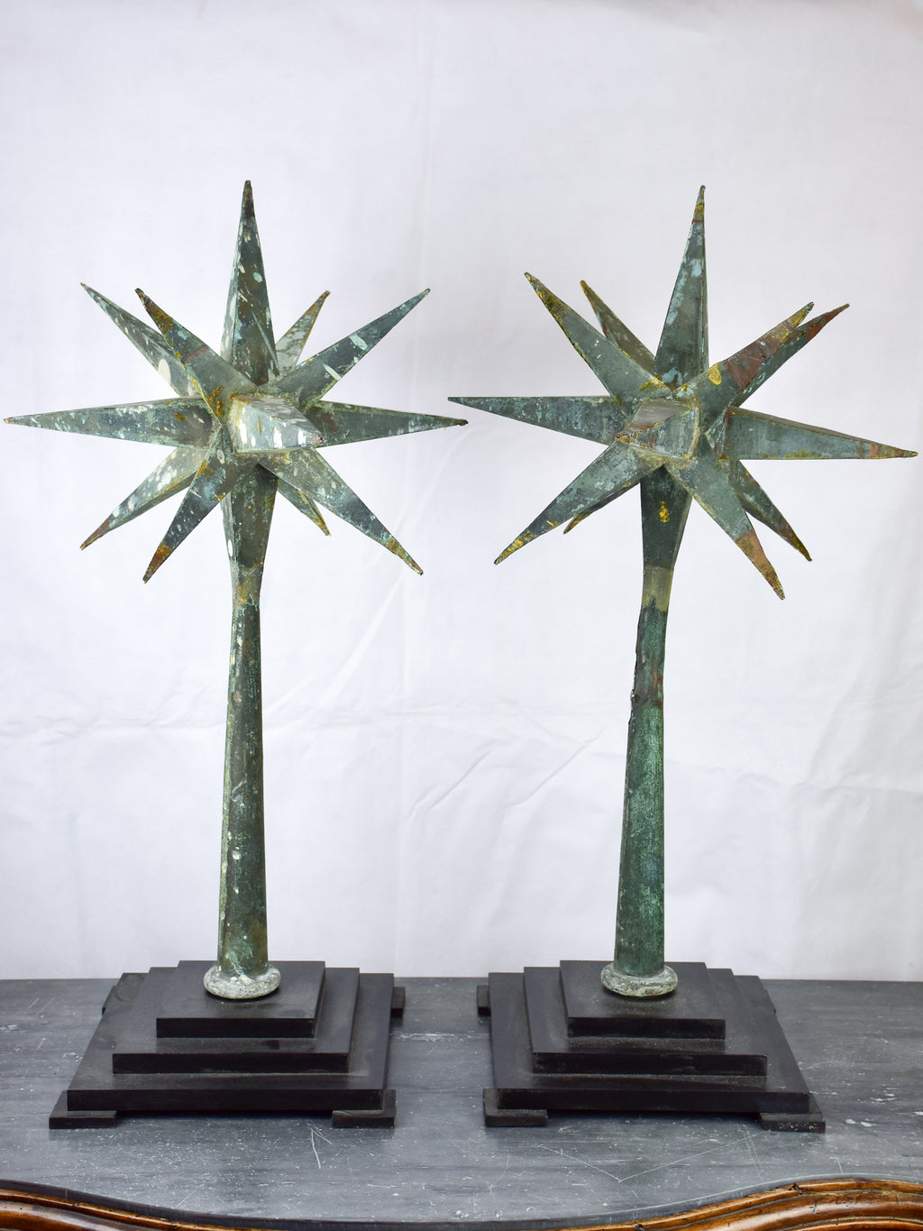 Pair of 19th century sputnik lightning rods mounted on square bases