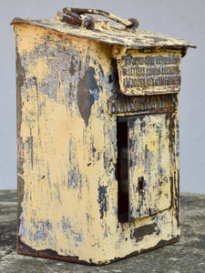 Antique French letter box with yellow patina