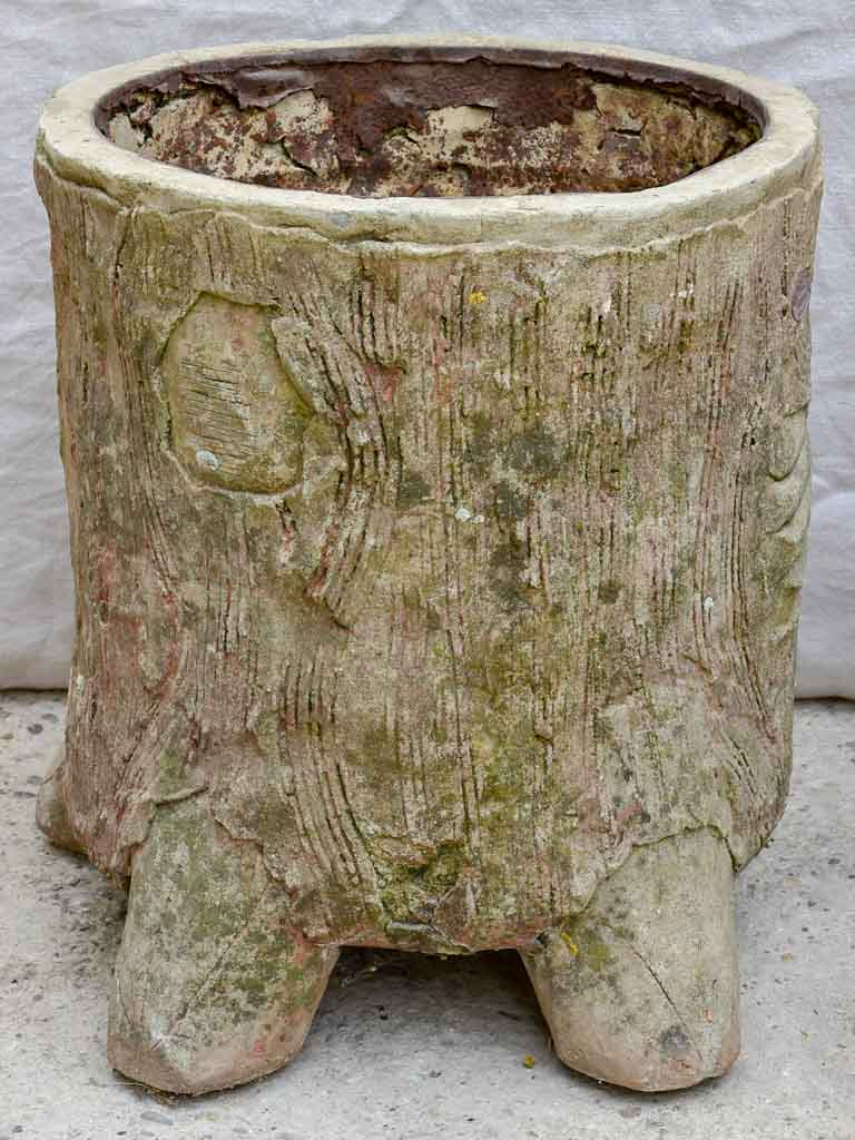 Pair of large antique faux bois tree trunk garden planters - Italian