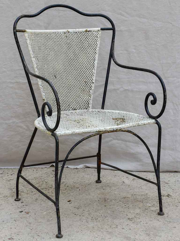 Antique French garden armchair - black and white with metal mesh
