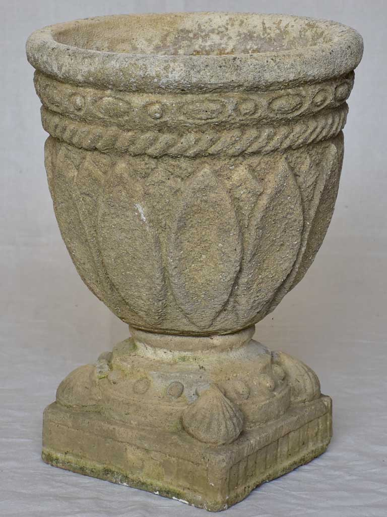 Antique French garden urn with pretty motifs, diamonds and shells 22¾""