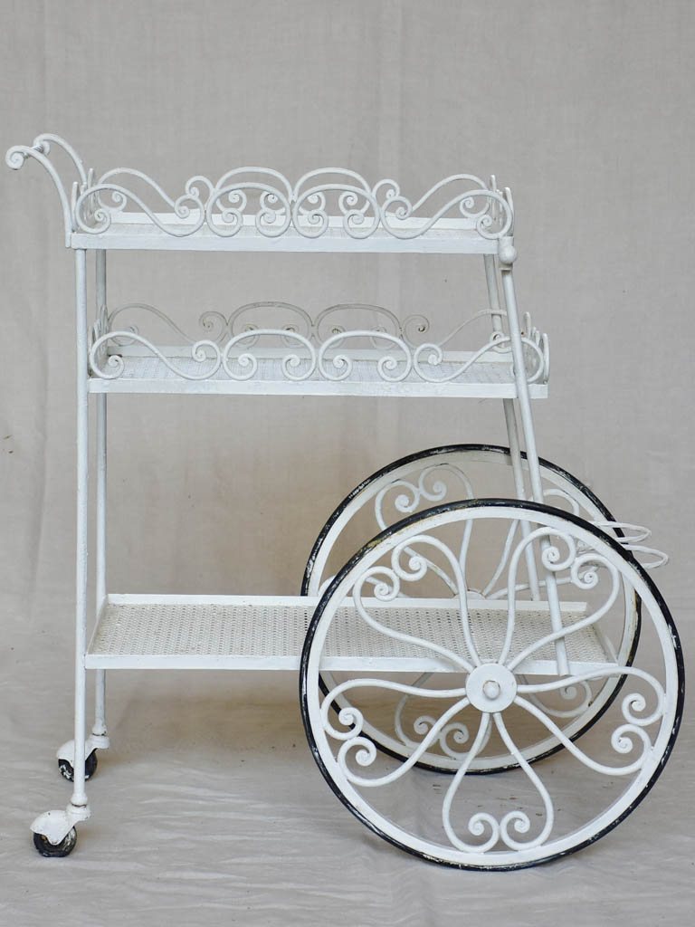 Decorative three tier mid century French bar cart - white
