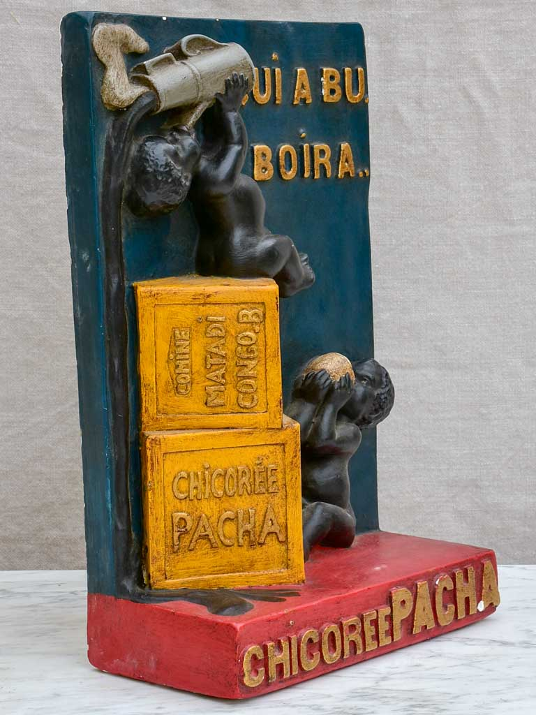 1930's Chicory Pacha advertising plaster sculpture