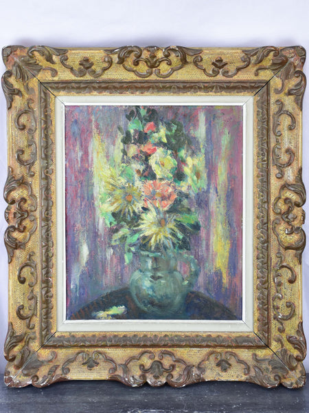 Antique French painting of a bouquet by Ludwig Klimek (1912-1992)