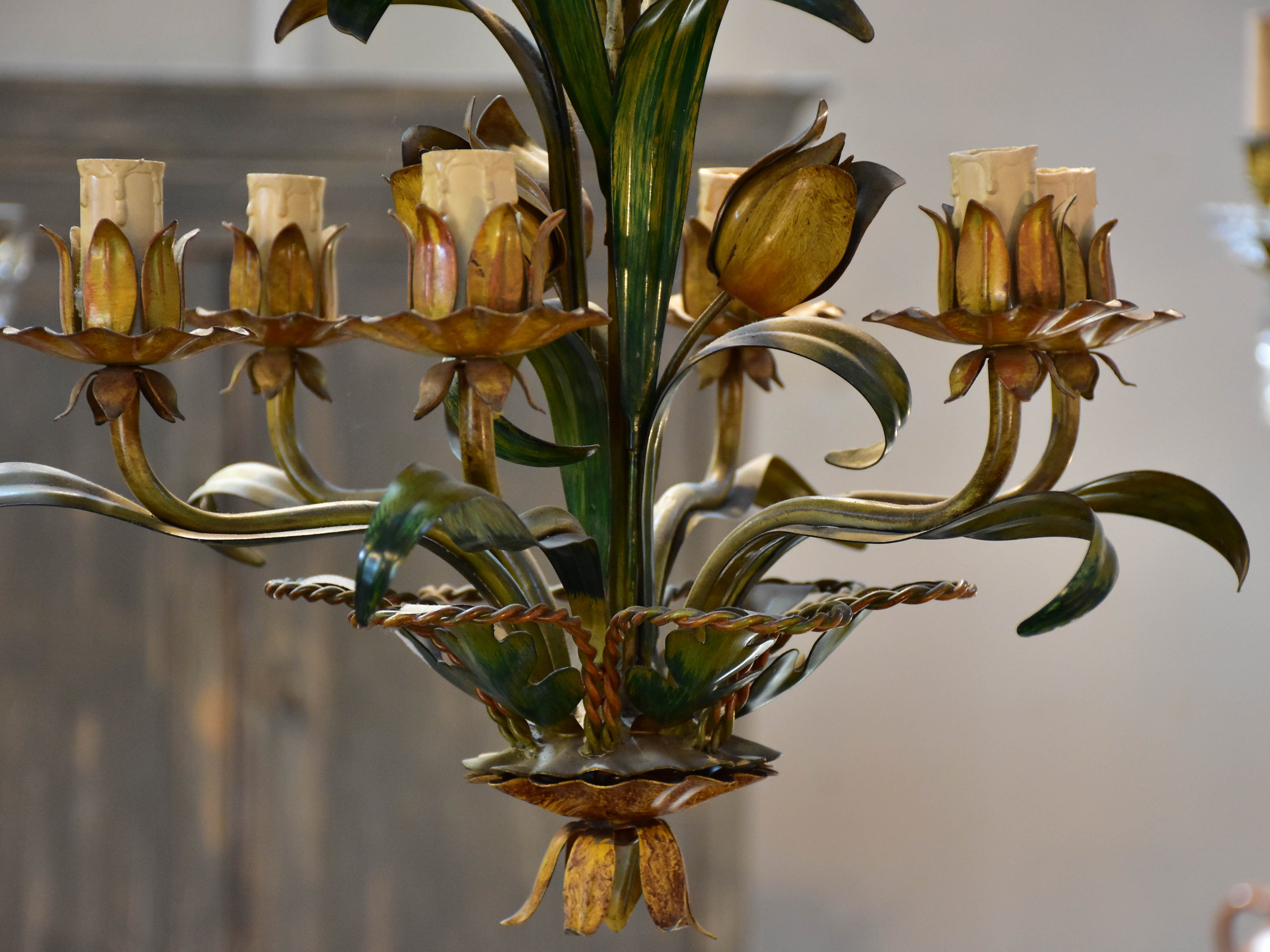 Vintage French lustre with flowers