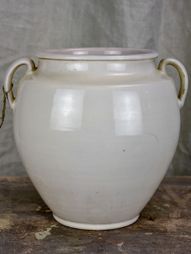Antique French preserving pot - white glaze