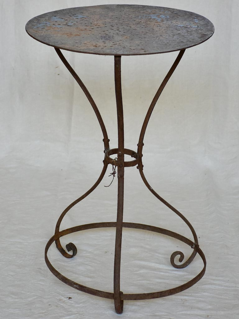 RESERVED AFB Antique French garden table with brace around base 19""