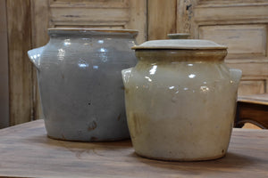 French stoneware preserving pots with lid