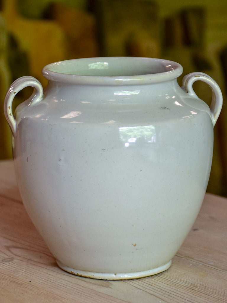 Small antique French preserving pot with white glaze 6¾""