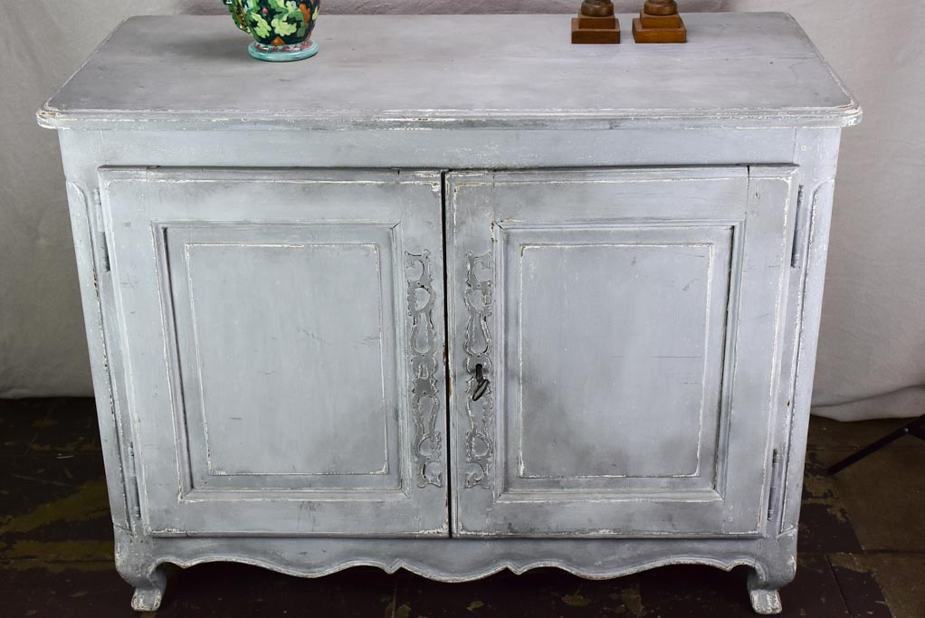 19th Century Louis XV buffet with blue / gray patina