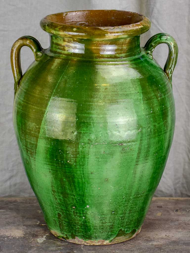 Antique French terracotta olive jar with green glaze