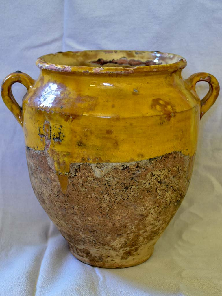 Very large antique French confit pot with orange glaze 12¼""