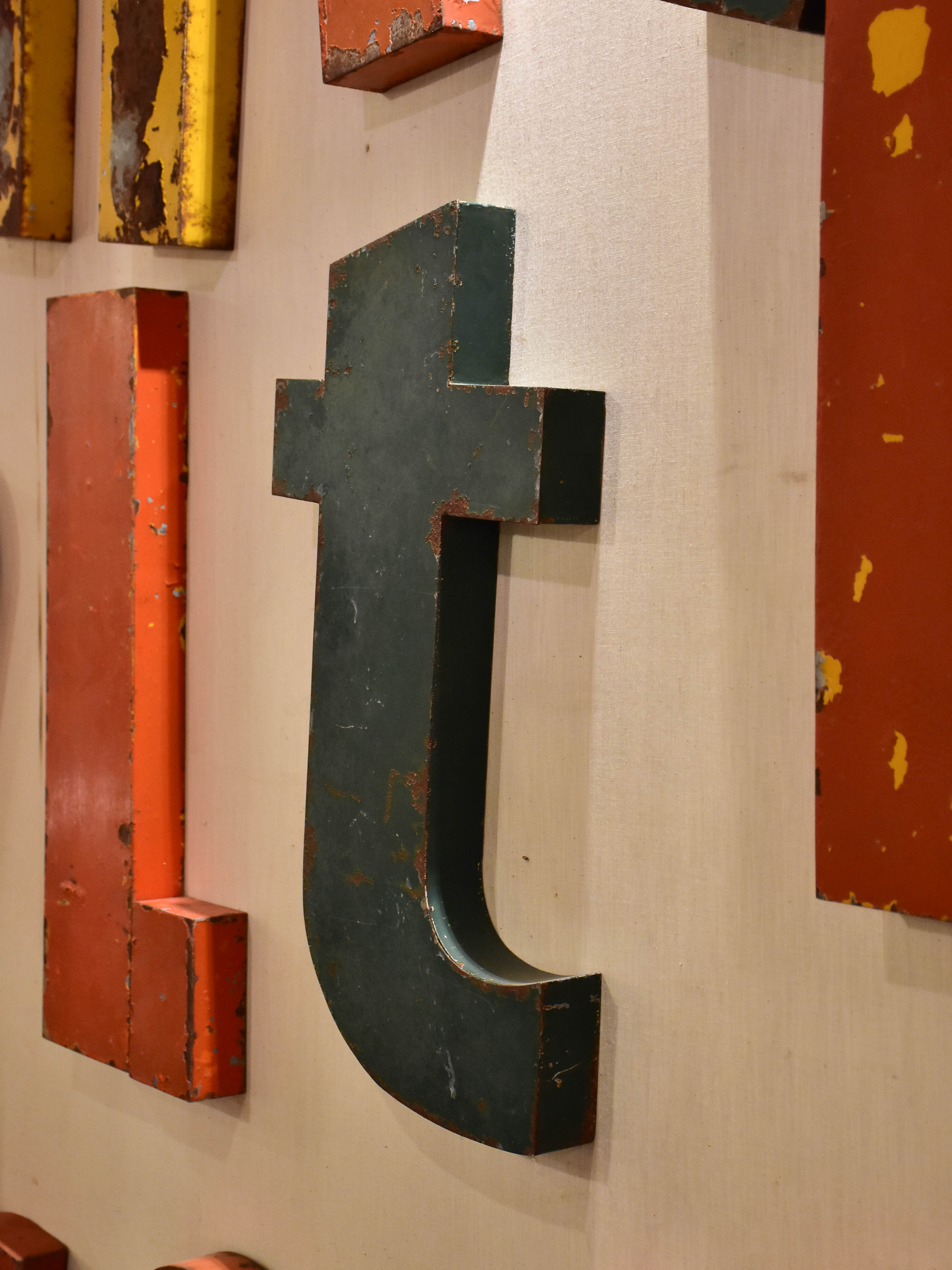 Collection of 5 French vintage letters - vintage signs