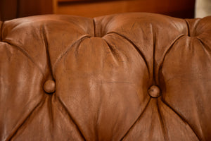 Original 1960's Chesterfield three seat sofa with brown leather