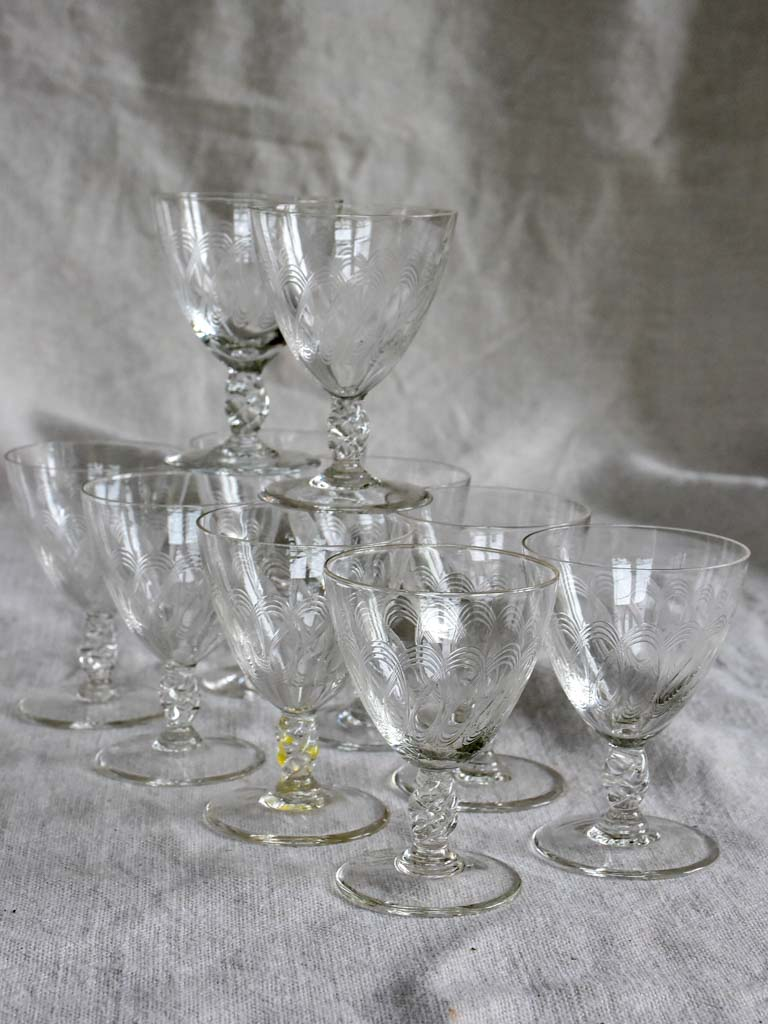 Ten mid-century aperitif glasses