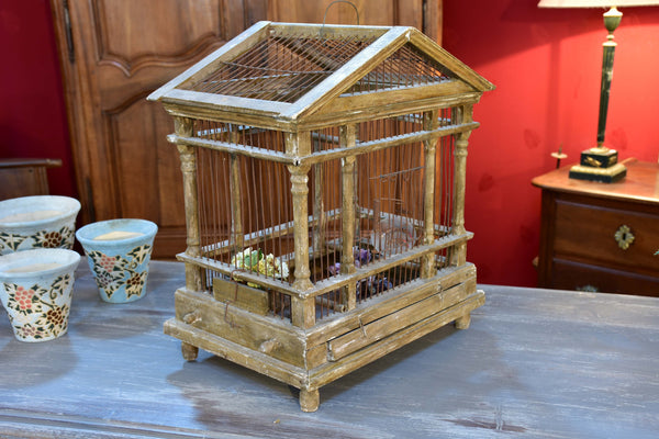 Antique French birdcage with pitched roof