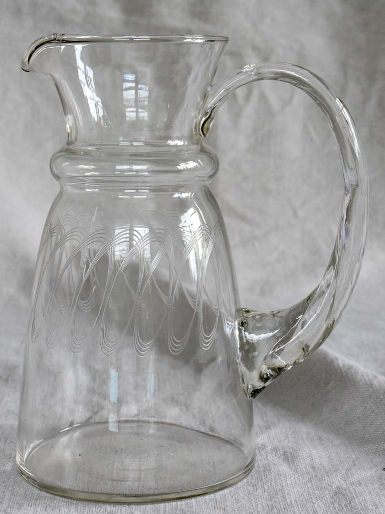 Mid century water pitcher - demi crystal