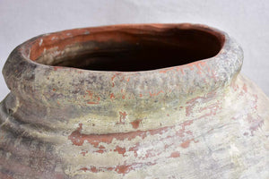 Antique clay pot with ribbed sides and drainage hole 26½""