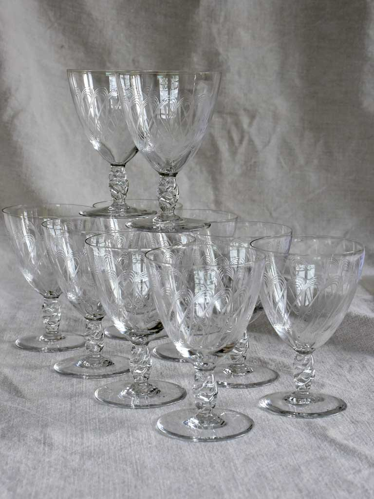 10 mid century French red wine glasses