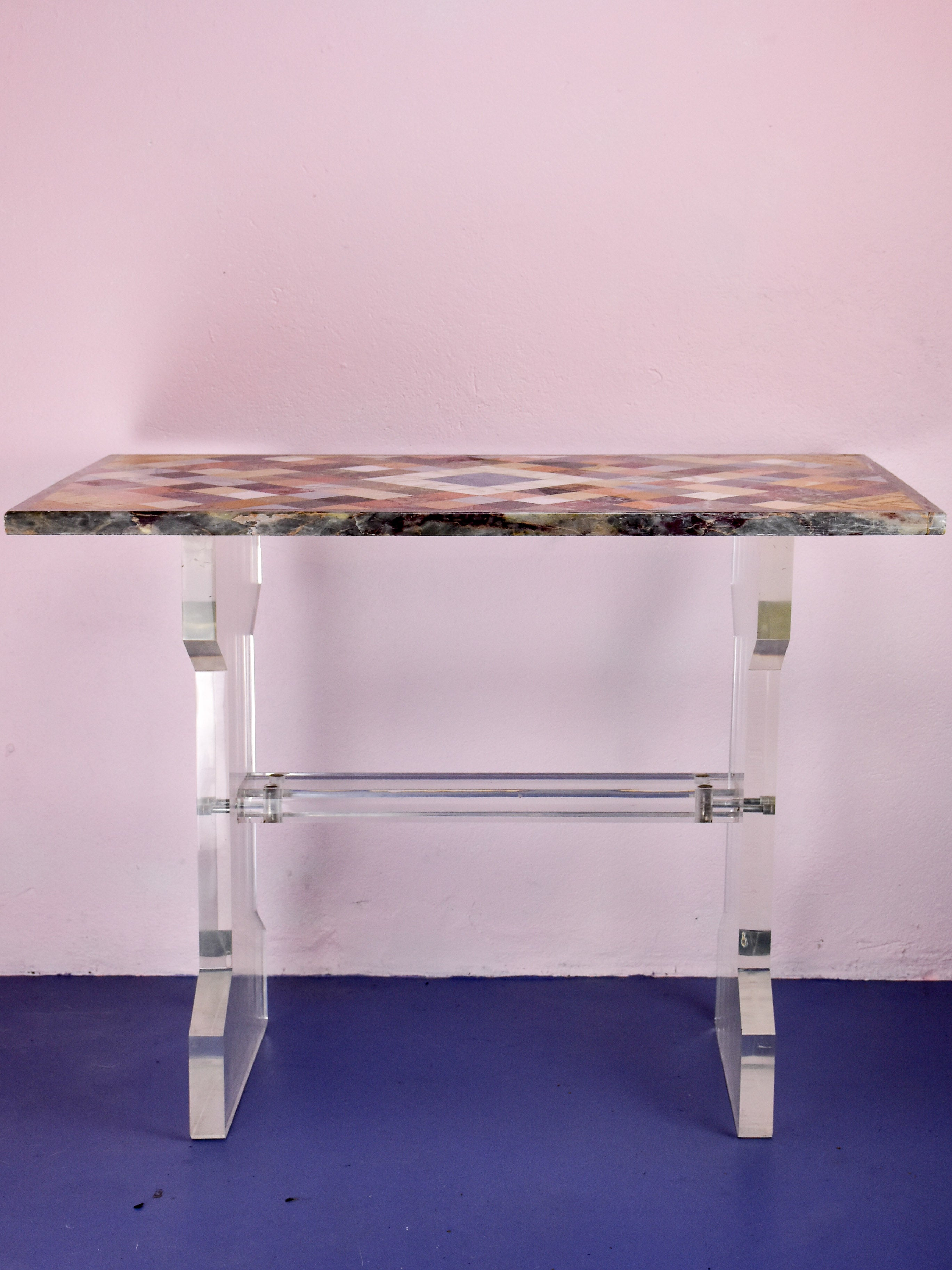 Vintage marble and lucite occasional table