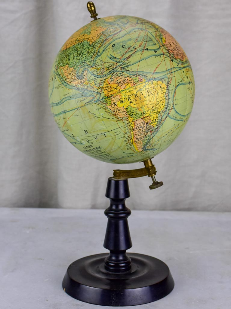 Antique French Napoleon III world globe - small